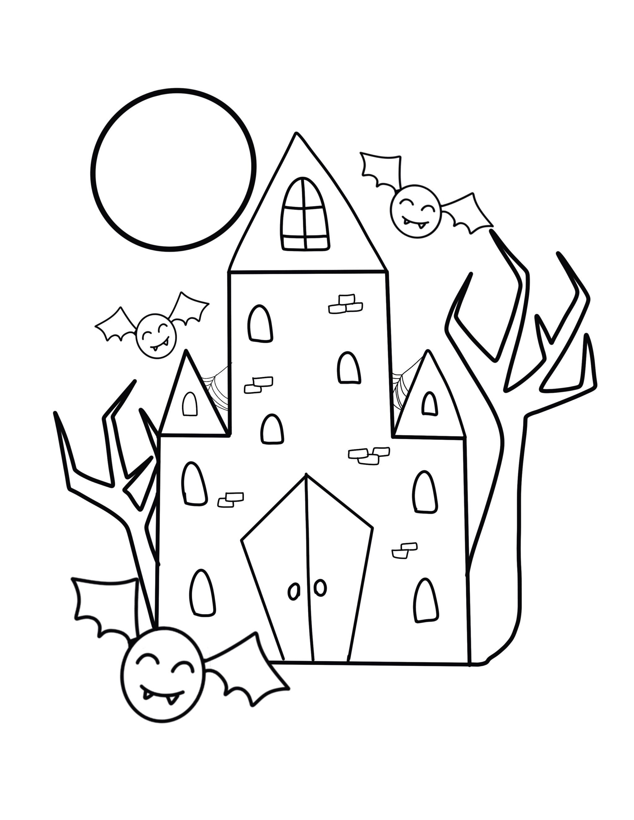 Coloringes Free Printable Halloween For Kids Easy Dinosaur ... | 2588x2000