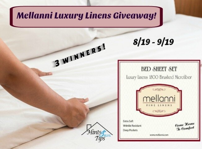 Mellanni Luxury Linens Giveaway ends 9-19