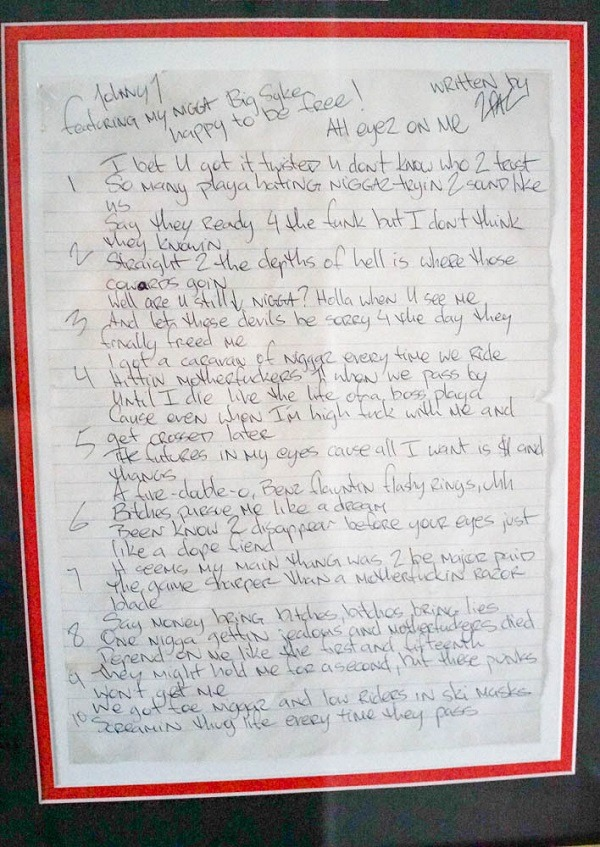 2Pac's Original Handwritten Lyrics Up for Sale - XXL