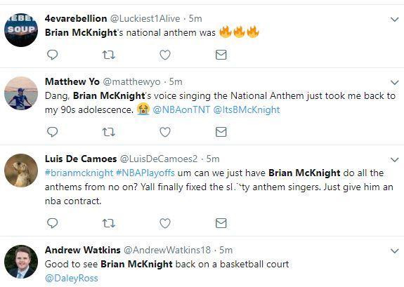 Brian McKnight sang the National Anthem before Warriors / Rockets