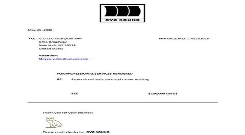 Drake Posts Invoice From GOOD Music Showing They Paid Him - Drake invoice