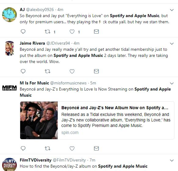 Spotify and Apple Music! Fans on Twitter are excited that Jay-Z and