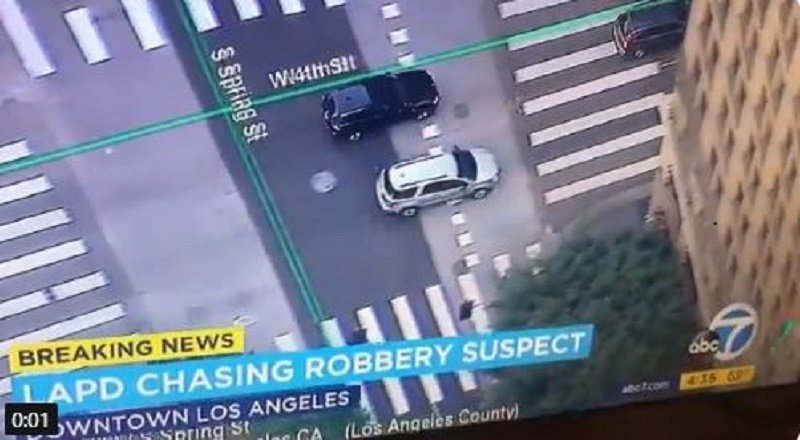 DTLA high speed chase, LAPD chasing robbery suspects in