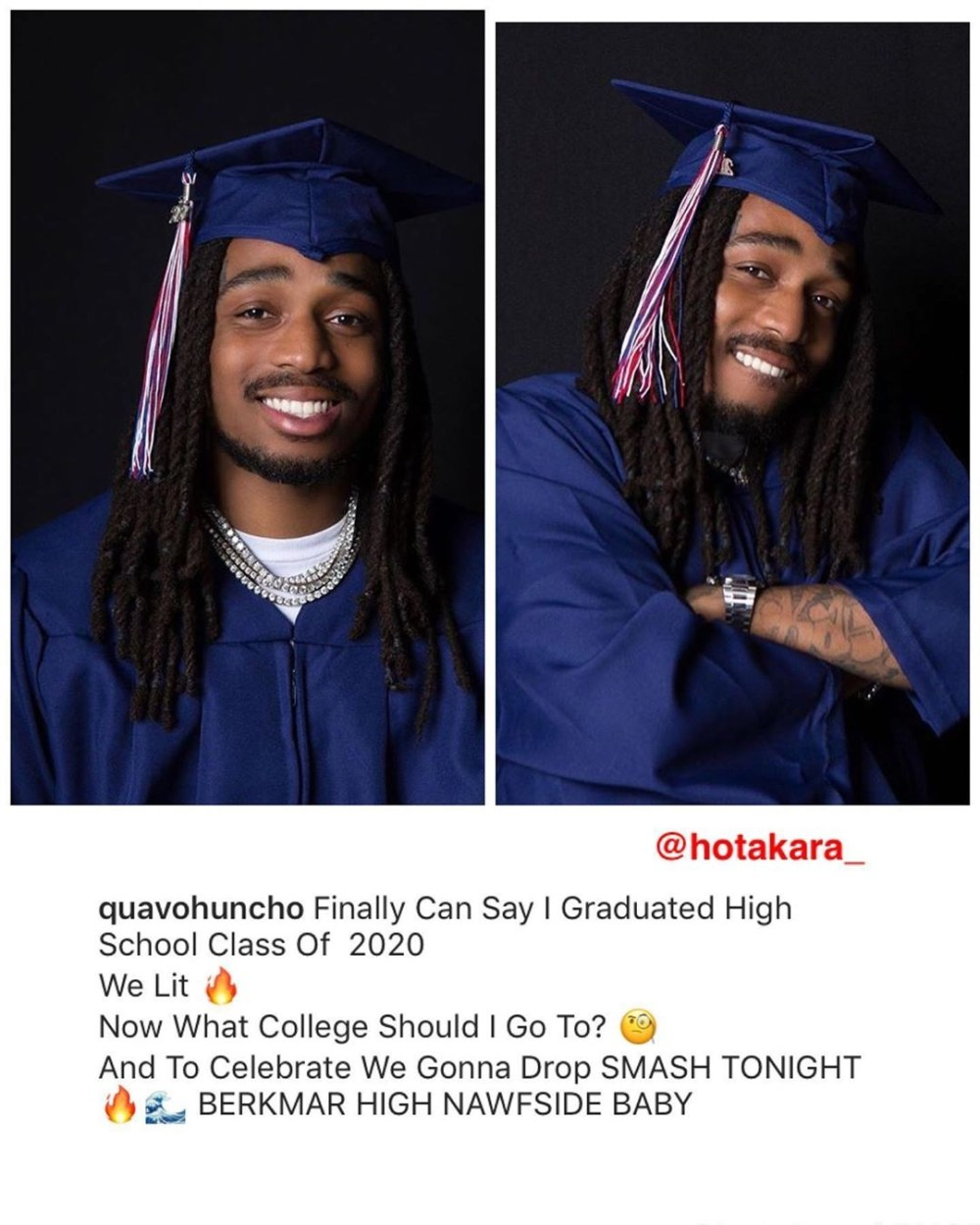 """Quavo graduated from high school, during this quarantine. When a fan tried to clown him, calling it """"embarrassing,"""" Twitter came to his defense. Fans are proud of this millionaire for getting his education, and getting his diploma."""
