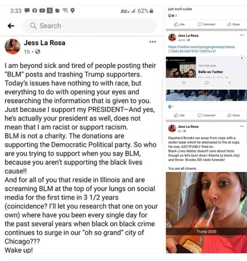 Jenn La Rosa is the manager of a Starbucks, in Carpenterville, Illinois. This is a small city in the suburbs of Chicago, and she is a vocal Trump supporter. Somehow, she has tied the death of Rayshard Brooks, and the Black Lives Matter movement directly to the Democratic Party. Regarding Rayshard Brooks' death, Jenn said his shooting was justifiable, and that she is tired of hearing about Black Lives Matter.