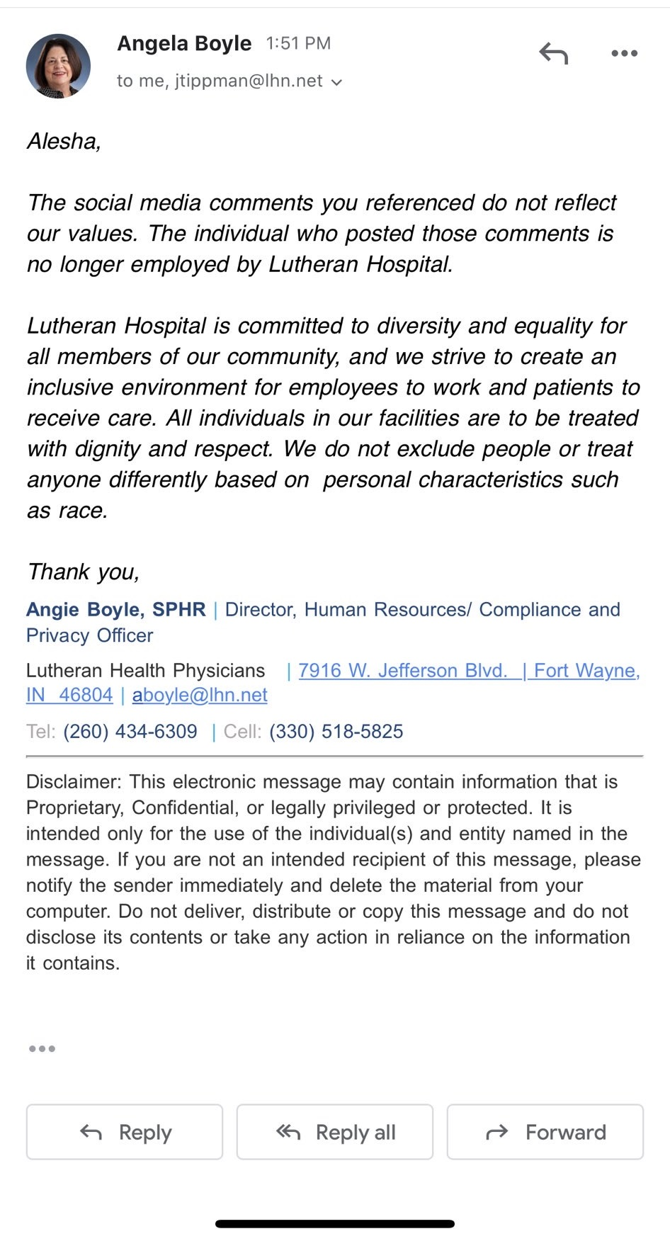 Lutheran Hospital Indiana's Human Resources Director sent an email, revealing K Ann Wilks is no longer employed by the hospital. In the email, Wilks (real name Kristy Ann Wilker) isn't mentioned by name. But, the email says the hospital stands for diversity, and anyone with views such as Wilks' don't align with theirs, adding that she is no longer employed there.