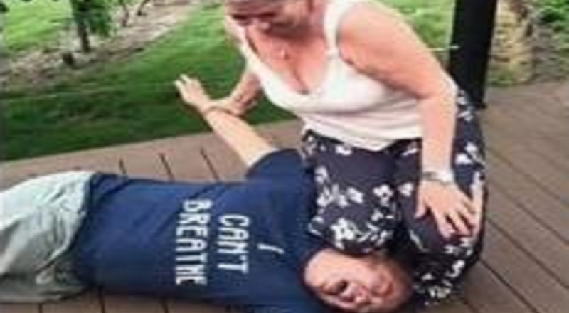 "Paula McGuian, the owner of Home Spray Foam & Installation, LLC, is the latest person to mock George Floyd's death. The small business owner is a native of Eugene, Oregon and she took a photo of herself with her knee on the neck of a young man, wearing an ""I Can't Breathe"" t-shirt. The woman posted the image on Facebook, with the caption saying ""Ready for my Minnesota trip #Asianlivesmatter,"" very disrespectful to Floyd's memory."