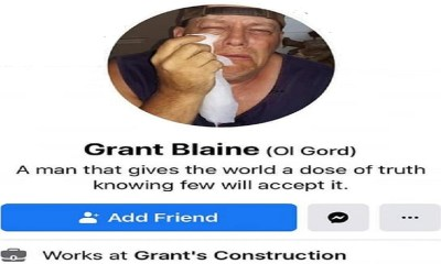 """Grant Blaine, the apparent owner of Grant's Construction, in Elizabethon, Tennessee is another person that has problems with Black Lives Matter. On his personal Facebook, Grant Blaine called Black Lives Matter """"a bunch of n*ggers and thugs."""" Then, on the company's Facebook page, Grant Blaine mocked BLM, calling them """"terrorist,"""" while holding up cupcake with a black fist."""