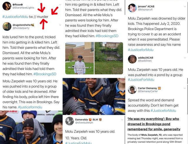 #JusticeForMolu is the hashtag that is taking over Facebook and Twitter. This is because of Molu Zarpeleh, a ten year old little boy, who was killed, in Brookings, South Dakota. The little boy was lured by some older kids to a pond, where he was killed, and the kids went home, not saying a word about what happened, and the Brookings Police Department is accused of covering it up.