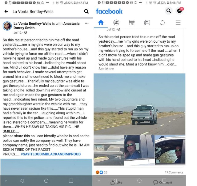 La Vonda Bentley-Wells was driving to her brother's house, when she encountered the man driving this white truck. The man began trying to run Bentley-Wells off the road, as she was driving with her two daughters, and granddaughter. As the man was going around her, Bentley-Wells shared to Facebook that he gave the gun symbol with his finger and aimed it at his head, threatening her. While he did this, the man's family was in the truck, laughing.