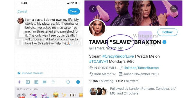 Tamar Braxton was the source of breaking news, this morning. Overdosing on drugs, Braxton was rushed to the hospital, and rumor had it that it was a suicide attempt. Since then, reports have said she is in stable condition, but unconscious, however, a text message has leaked, allegedly from Tamar, before the overdose, where she said she is a slave that feels trapped with death being her only way out.