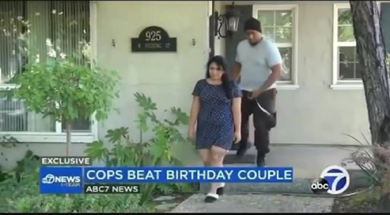 Hano Sekona shared a video on Facebook, last Friday, of a news clip of a young couple of color. The couple were celebrating the birthday of the young woman, spending a weekend at a hotel, where they were playing music. When asked by the hotel to turn their music down, they did, but the cops were still called, insisting on calling the man out, and asking for his ID, after the music was turned down, when the cops began to harass the man, the woman pulled him back in the hotel room, and slammed the door, leading the cops to ask the couple to leave, forcing them to pack their bags, and then pulled a taser gun, when they didn't pack fast enough, and then they began beating the couple, leaving them with huge swelling, and deep bruising.