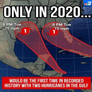 Meteorologist Jason Dunning shared a nightmare scenario for the states on the Gulf of Mexico. He shared the possibility, on Facebook, of two hurricanes hitting the Gulf of Mexico, at the same time. This came with a disclaimer that this is highly unlikely to happen.