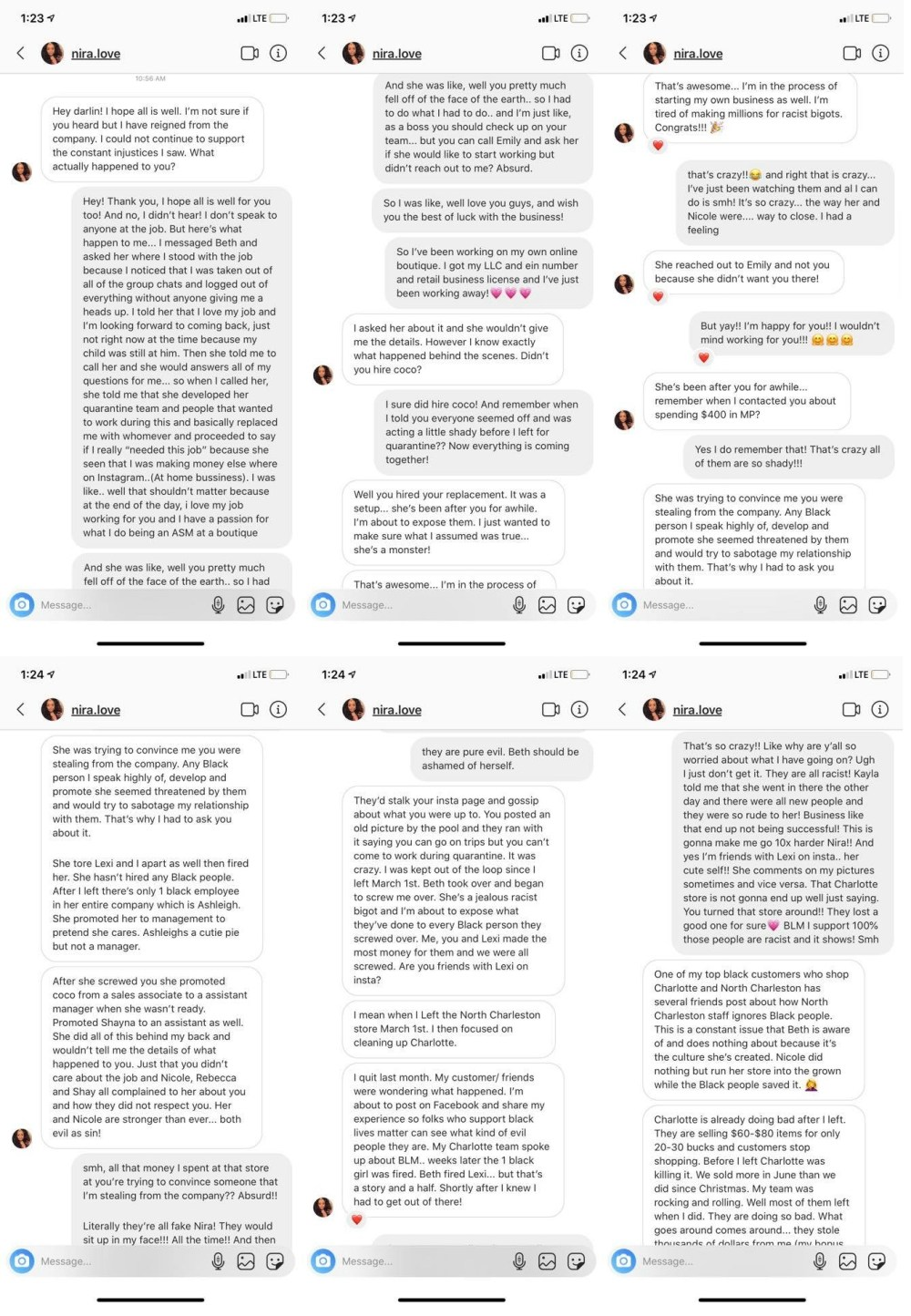 Lillian Wright took to Facebook, yesterday, to tell people if she sent them an invite to like Apricot Lane Charleston to unlike the page. In her status, Lillian Wright went onto say that she was fired, for no reason, from the company, talked about, and stalked on her Instagram. Her former district manager, also black, found her on Instagram, sharing via DMs that she was set up, from the beginning, despite being an assistant manager for the store, she was accused of stealing from the company, among other lies of wrongdoing.