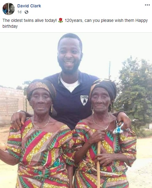 David Clark shares a heartwarming photo, on Facebook. There is a man who is photoed with two elderly women, side-by-side. These ladies are twins, who recently celebrated their 120th birthday, and David Clark is asking people to wish these ladies a happy birthday.