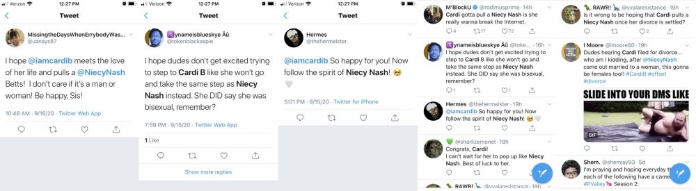 Cardi B's filing for divorce from Offset went public, yesterday. There are tons of men lining up to be the next in Cardi's life. However, fans on Twitter are warning, meanwhile others are hoping, that Cardi B pulls a Niecy Nash, and pops out with the woman of her dreams.