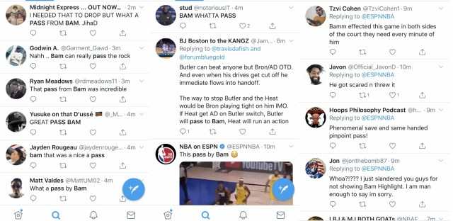 Bam Adebayo is definitely a different kind of center. Back in the day, a lot was said about Shaq's passing abilities. But, what Bam did in tonight's game definitely has Twitter going crazy.