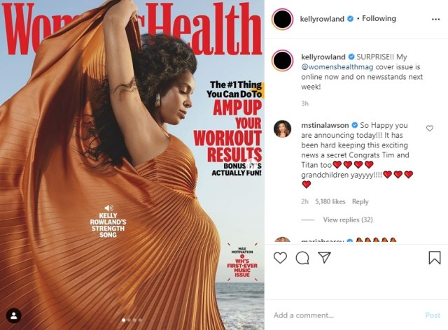 """Kelly Rowland is on the cover of """"Women's Health"""" magazine, this month. With the cover, alone, she made a huge announcement. The famed R&B singer is pregnant with her second child."""