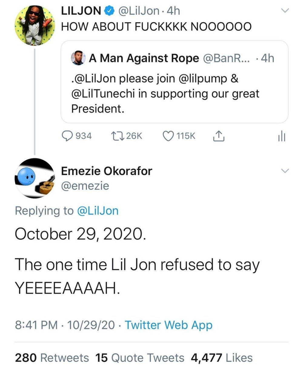 """Lil Jon took over the game by creating his own sound. The 2003-2006 period saw him create some huge hits, both for himself and others. There is a current trend of rappers endorsing Donald Trump for president, but Lil Jon does his own thing, telling a fan """"F*CKKKK NOOOOOO,"""" when asked if he'd support Trump."""