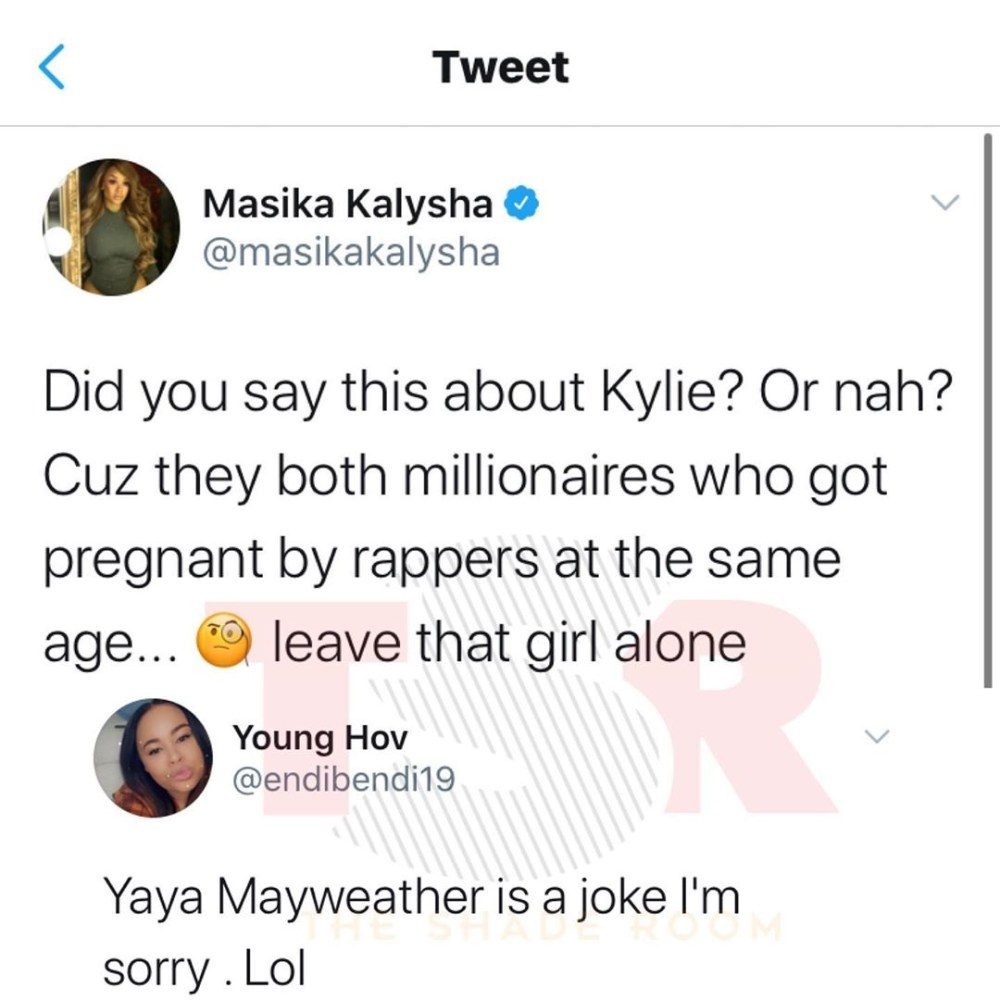 """Masika, formerly of """"Love & Hip Hop Hollywood,"""" saw all of the Yaya Mayweather disrespect, on Twitter. Being an older influence, she decided to use her influence for good, as she doesn't like what she's seeing. She came to Yaya's defense, asking if people criticized Kylie Jenner for getting pregnant by a rapper, because she and Yaya did the same thing, rich girls who got pregnant by rappers."""