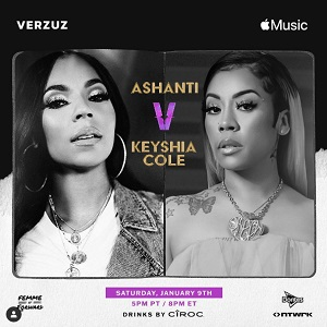 Ashanti Keyshia Cole Verzuz January 9 COVID-19