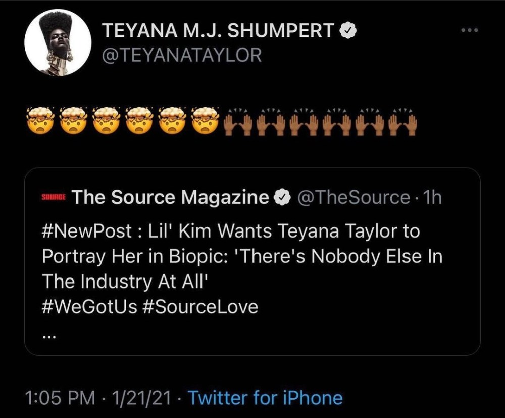 Lil' Kim wants Teyana Taylor to play her in biopic