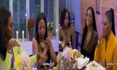 Kenya Moore Arguing with Porsha Williams at Table Real house Wives of Atlanta