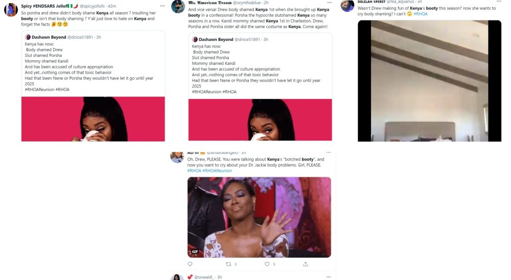 Drew Sidora body shame Twitter Kenya Moore