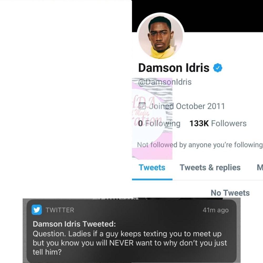 Damson Idris deletes Twitter