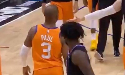 Patrick Beverly shoves Chris Paul