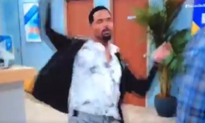 Tyler Perry fight scene where man dramatically spins and falls after being punched
