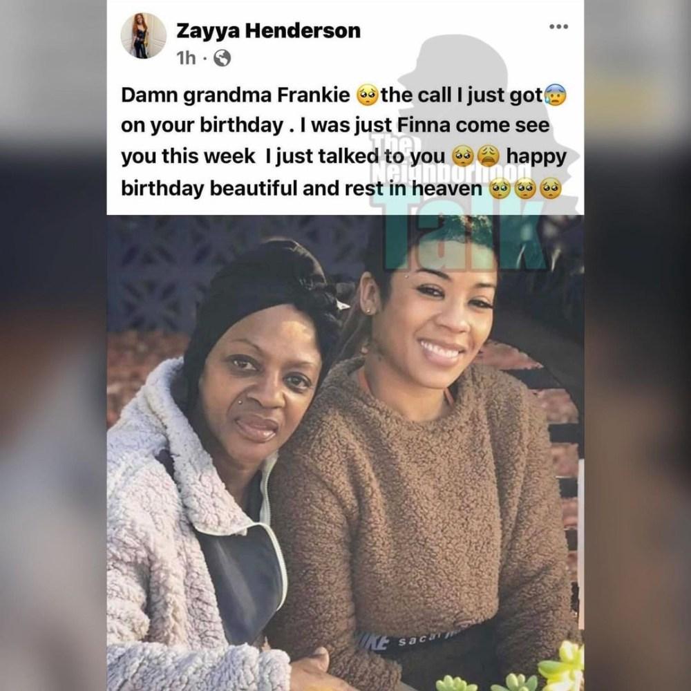 Frankie Keyshia Cole's mother has died