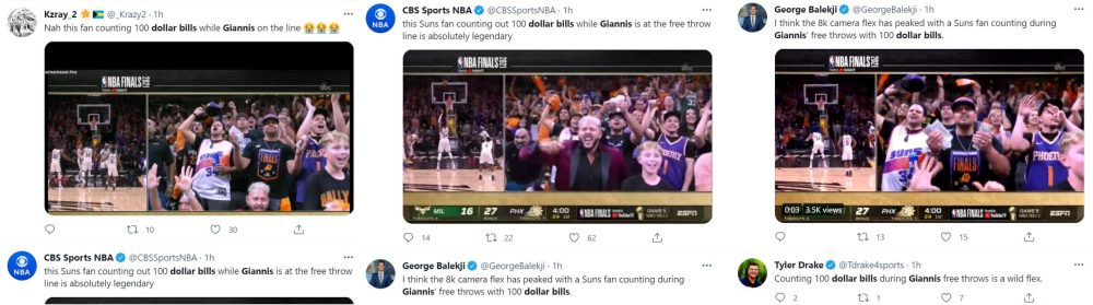 Suns fan trolls Giannis by counting 100 dollar bills when he's shooting free throws