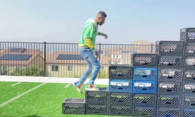 Blueface effortlessly does the Crate Challenge and then does backflip