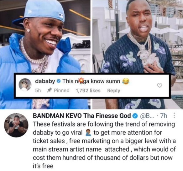 DaBaby says festivals are cancelling him for free publicity