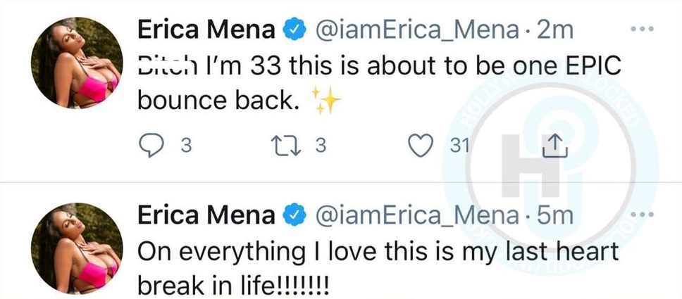 Erica Mena says this is her last heartbreak and her bounce back will be epic