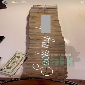 Lil Baby shows off stacks of cash with suck my d-ck caption