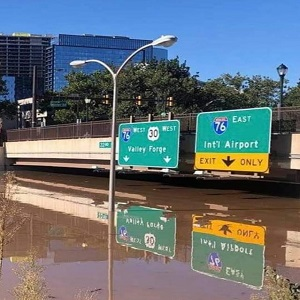 Interstate 76 in Philadelphia is completely flooded