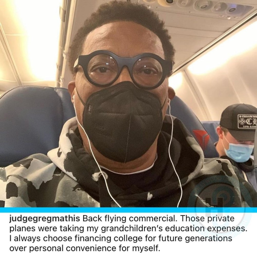 Judge Mathis reveals he is flying commercial because private planes take away from his grandchildren's college expenses