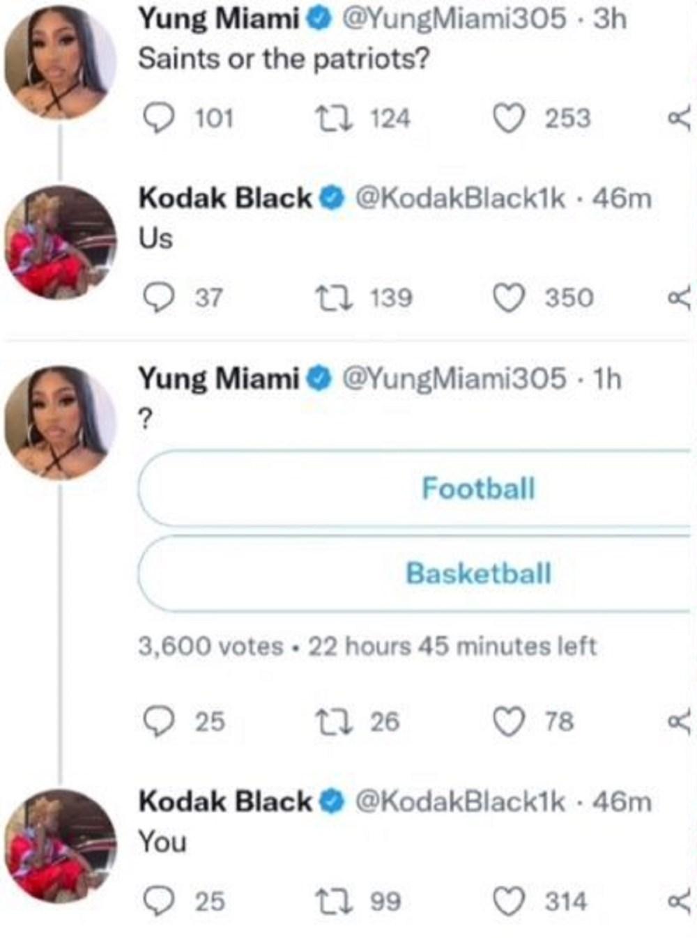 Kodak Black tells Yung Miami he wants her on Twitter