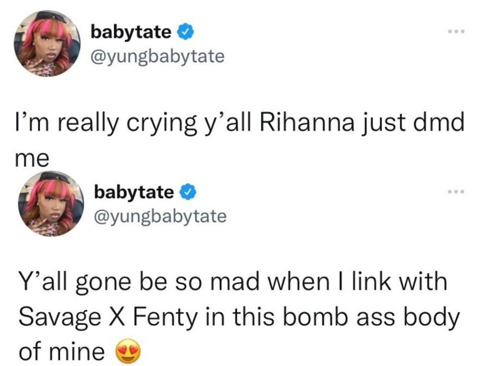 Yung Baby Tate reveals Rihanna DM-ed her in support of her body positivity