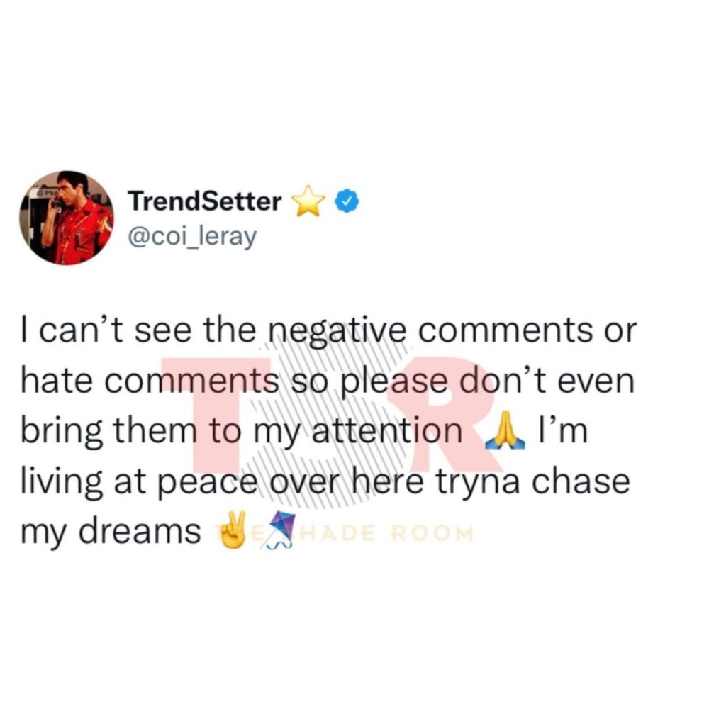 Coi Leray tells people to stop sending her negative and hate comments