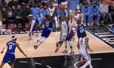 Ja Morant tries to dunk on Ivica Zubac, but Eric Bledsoe blocks him