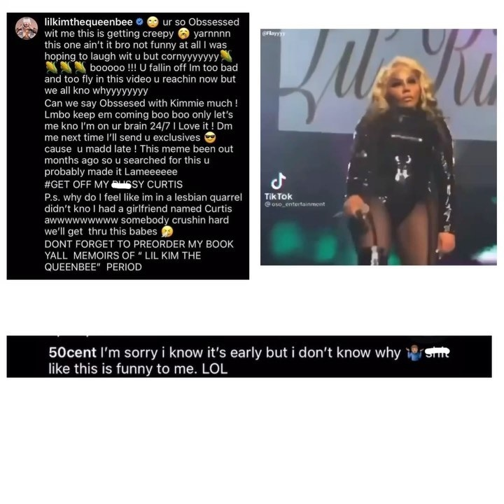 Lil' Kim responds to 50 Cent, says he's obsessed with her, and calls him a girl