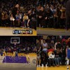 Steph Curry falls in front of Floyd Mayweather and Kid Cudi