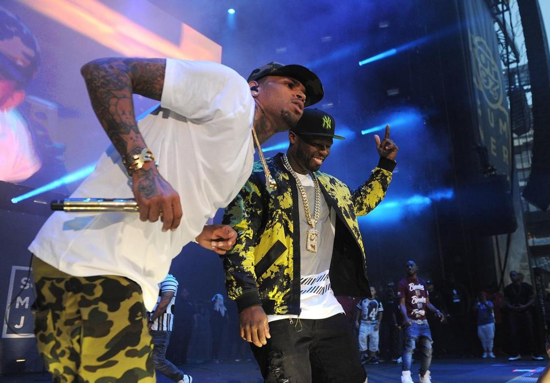Image result for 50 Cent Clowns Chris Brown's Hair