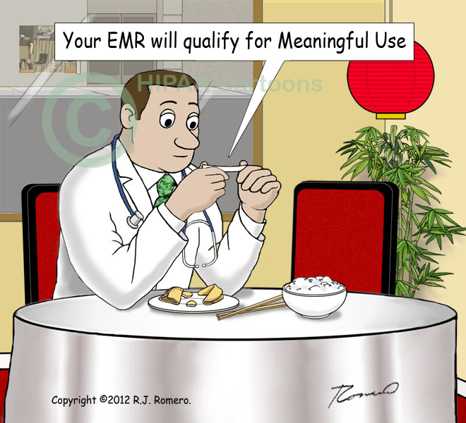 Cartoon-doctor-reads-fortune-cookie-Meaningful-Use_emr137
