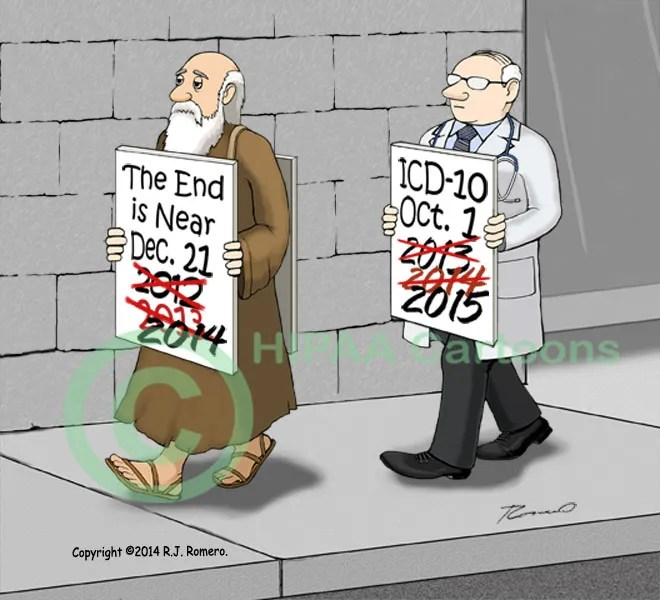 Cartoon-Prophet-of-doom-crossed-out-dates-doctor-ICD-10-delay_icd-04