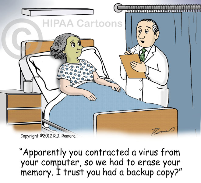 Cartoon Doctor Tells Patient She Caught Computer Virus And They Erased Her Memory S113