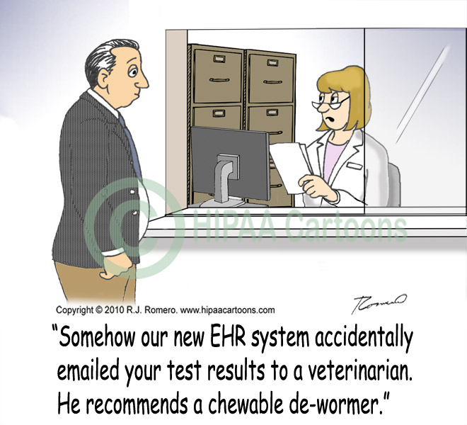 Cartoon-nurse-tells-patient-about-misdirected-fax-sent-by-EHR_emr155